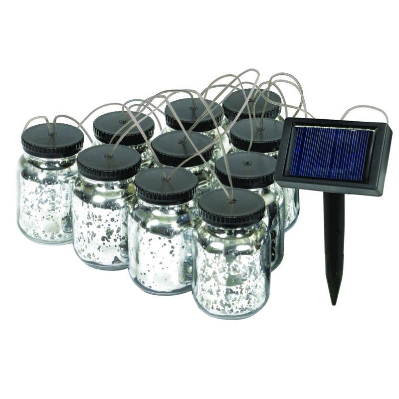 Malibu Black Solar Mason Jar String Lights
